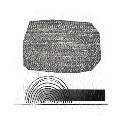 A print with a large ill-regular shape and spiral