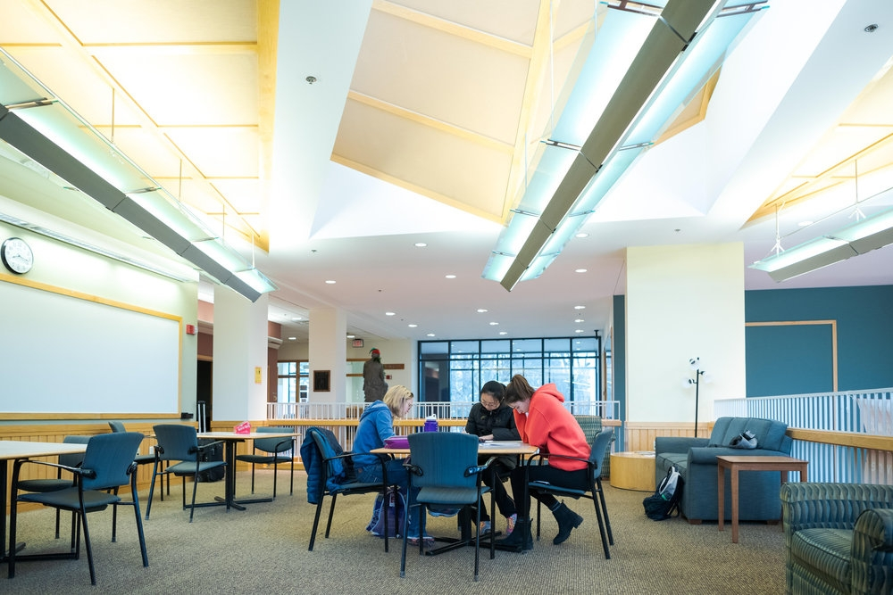 Students studying in an upstairs lounge in the Science Center.