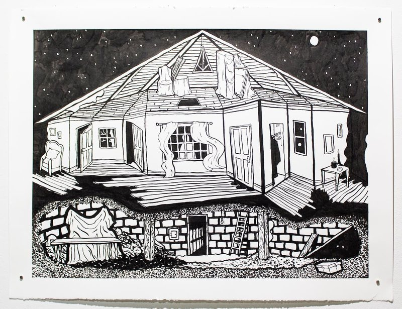 An ink drawing of a house.