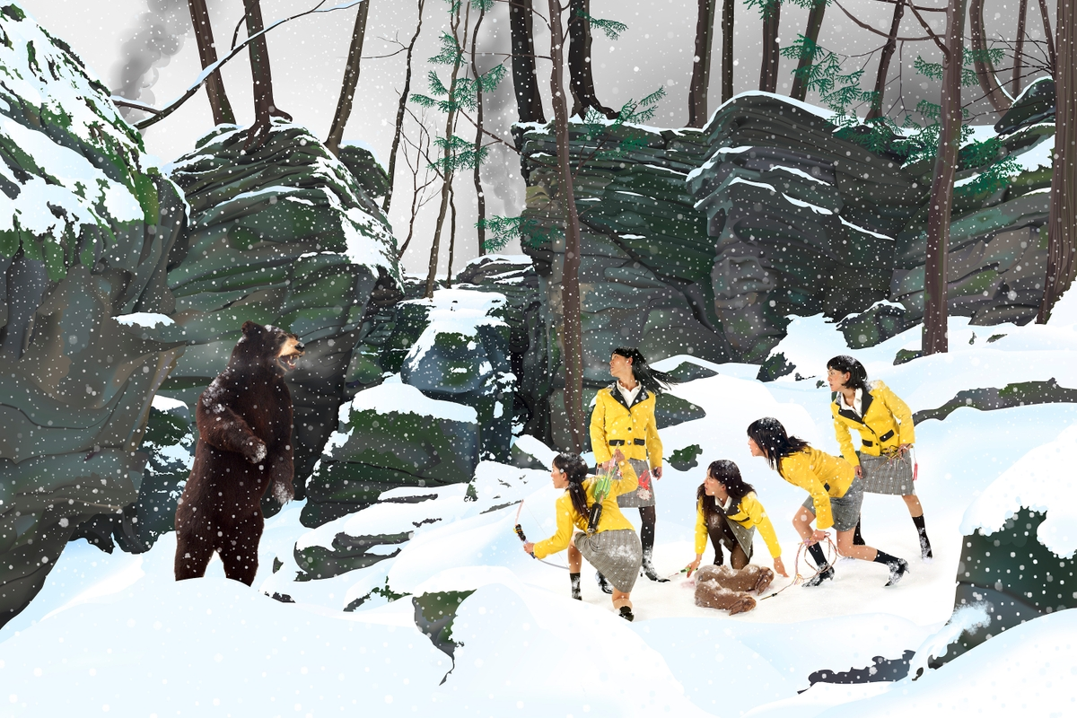Japanese women in uniform are frightened by a bear in the woods during a snowstorm.